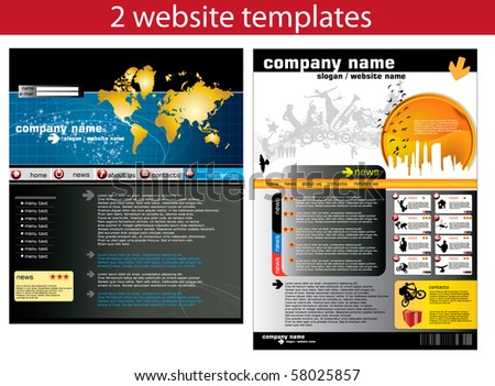 2 website design templates easy to editable - stock vector