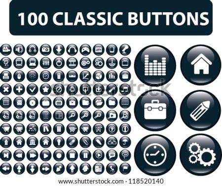 100 website glossy buttons set, vector - stock vector