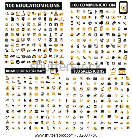400 website, internet, business, education, communication, office, health care, medicine infographics icons set, vector - stock vector
