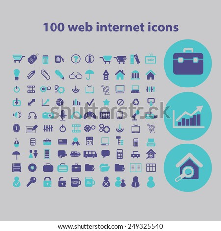 100 website, internet, page, computer icons, signs, illustrations set, vector