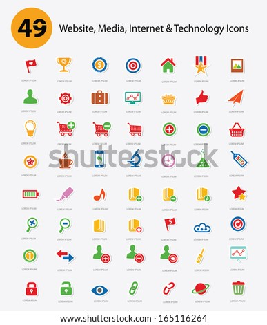 49 Website,Media,Internet & Technology icons,Colorful version,vector - stock vector