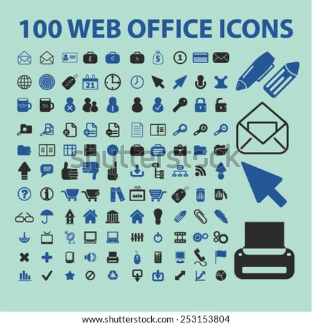 100 website office, document concept - flat isolated icons, signs, illustrations set, vector