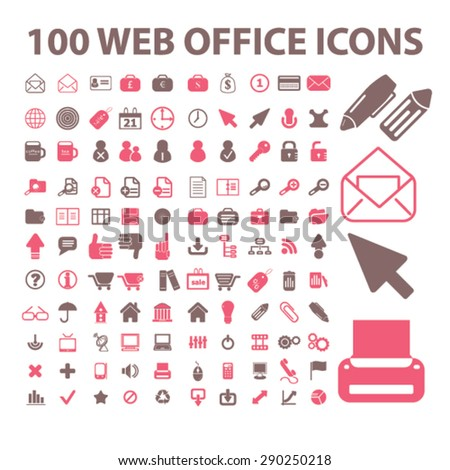 100 website, office, document, workplace isolated icons, signs, illustrations for web, internet, mobile application, vector - stock vector