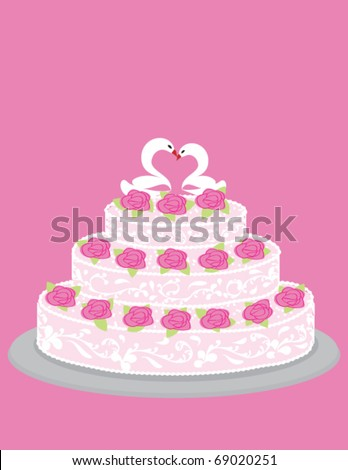 Wedding cake with roses and pair of in love swans.