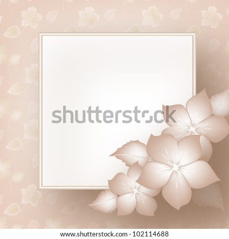 Wedding card or invitation with abstract floral background. Greeting card in grunge or retro style.  Card for greeting or invitation on the vintage background. - stock vector