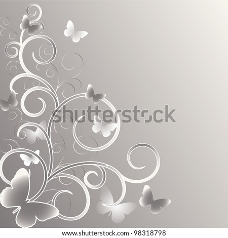 Wedding card or invitation with abstract floral background. Greeting card in grunge or retro style. - stock vector