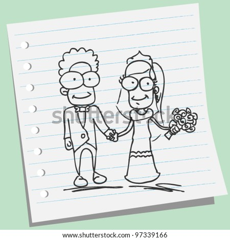 wedding couple doodle illustration - stock vector