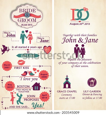 Wedding invitation card front back infographic stock vector wedding invitation card front and back infographic style template stopboris Choice Image