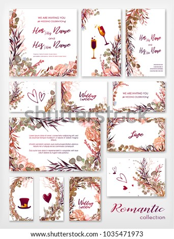 Wedding Invitation Frame Set Flowers Leaves Stock Vector HD Royalty