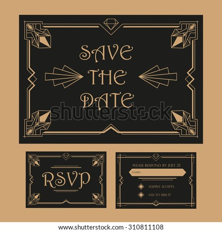 Wedding Save The Date and RSVP Card - Art Deco Vintage Style - stock vector