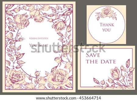 Wedding set. Menu, save the date, guest card. Pastel Pink flowers rose with buds and leaves, elegant, tender style - stock vector