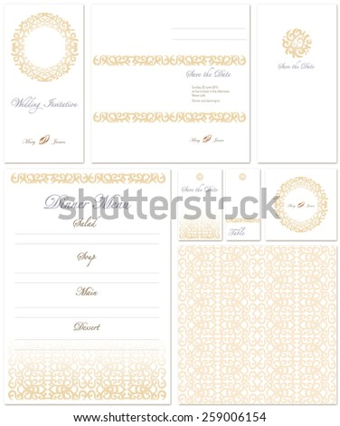wedding set with pattern in white and gold colors - stock vector