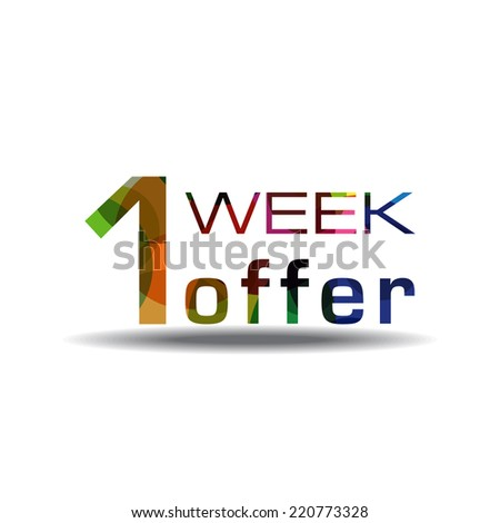1 Week Offer Colorful Vector Icon Design
