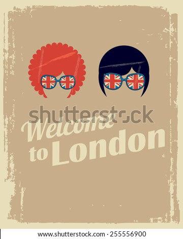 welcome to London poster with man and woman - stock vector