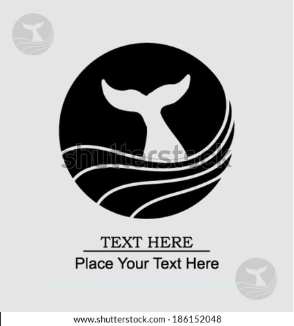 whale label - vector illustration  - stock vector