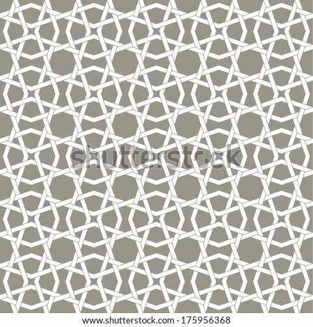 White and grey Geometric pattern. Traditional Arabic or Islamic seamless ornament. - stock vector
