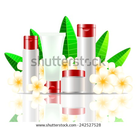 White and Red Blank Cosmetic Tubes on White Background decorate with flower, isolated on White Background. Place for your text. Vector - stock vector