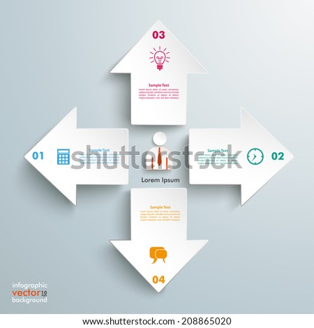 4 white arrows with businessman on the grey background. Eps 10 vector file. - stock vector
