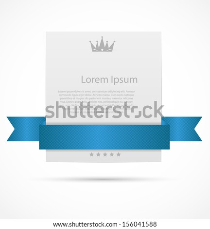 White card with  ribbon vector illustration - stock vector