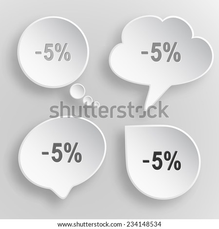 -5%. White flat vector buttons on gray background. - stock vector