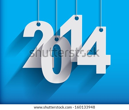 2014 White Paper Origami  cards on blue background. Vector illustration. - stock vector