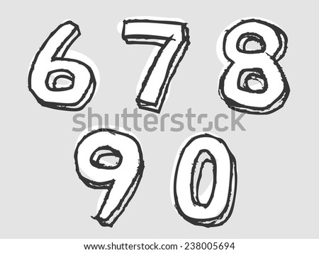 67890 white stained set of numbers or digits with doodle sketched rough outlines and dimension, design element on grey - stock vector