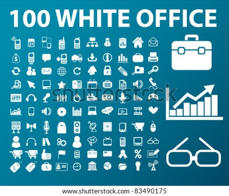 100 white web office icons, signs, vector illustrations set - stock vector
