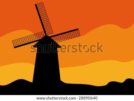 Windmill silhouette at sunset. Vector illustration. - stock vector