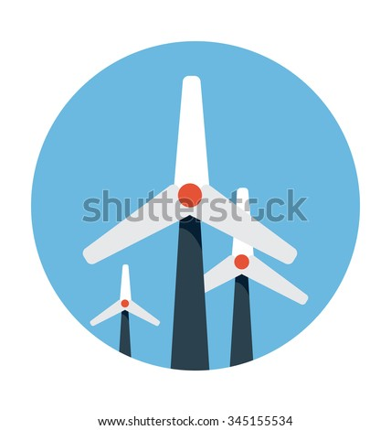 Windmills Colored Vector Icon  - stock vector