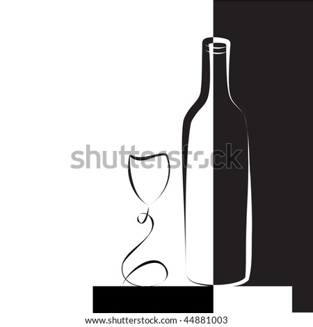 Wine glass and bottle for wine, black and white illustration. - stock vector