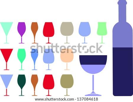 Wine glass pab bar design  vector illustration - stock vector