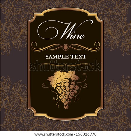 Wine label with grapes on black paper. - stock vector