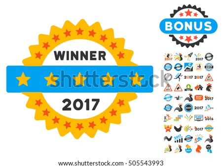 2017 Winner Stamp icon with bonus 2017 new year graphic icons. Vector illustration style is flat iconic symbols,modern colors.