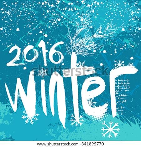2016 Winter background - stock vector