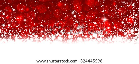 Winter background with snowflakes and place for text. Christmas red defocused illustration. Eps10 vector.  - stock vector