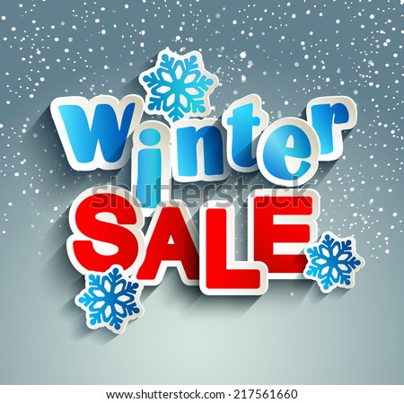 Winter sale inscription with snowflakes in paper style against snowfall, vector. - stock vector