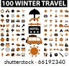 100 winter travel signs. vector - stock photo