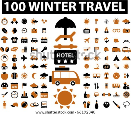 100 winter travel signs. vector - stock vector