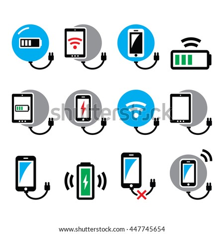 Wireless charging pad for smartphone or tablet icons set  - stock vector