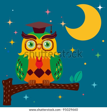 Wise owl against a star night sky - stock vector