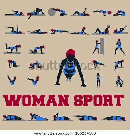 30 woman sport style complete collection - stock vector