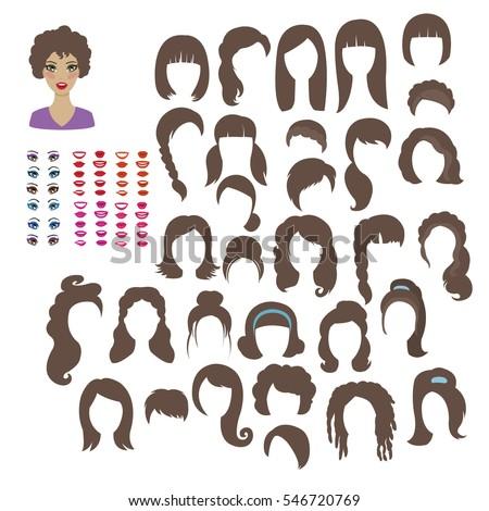 womens hairstyles designer kit brown hair stock vector royalty free