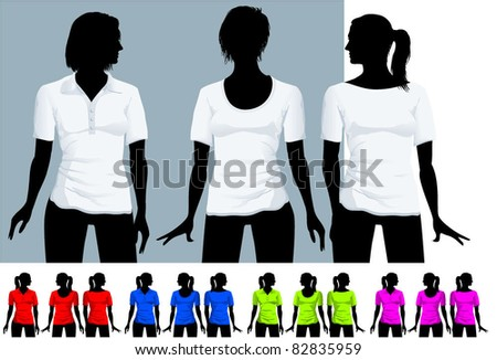 Women's  t-shirt and polo shirt design template with black body silhouette (various hair-dress). Vector. - stock vector