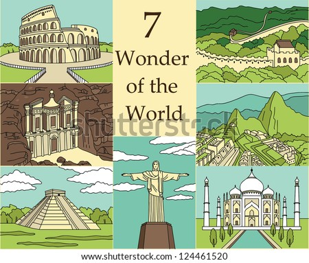 7 Wonders of the World: Colosseum, Great Wall, Machu Picchu, Petra, Taj Mahal, Cristo Redentor, El Castillo. Vector illustration - stock vector