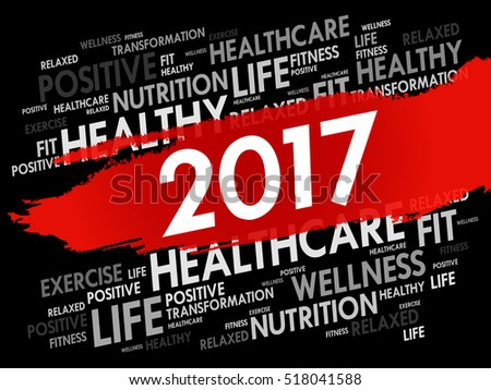 2017 word cloud collage, health concept background