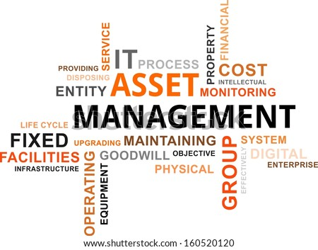 word cloud of asset management related items - stock vector