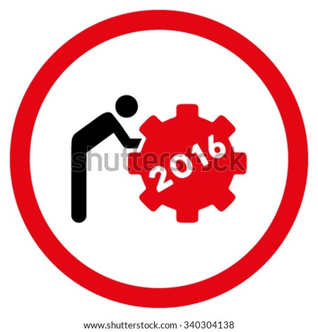 2016 Working Man vector icon. Style is bicolor flat circled symbol, intensive red and black colors, rounded angles, white background. - stock vector