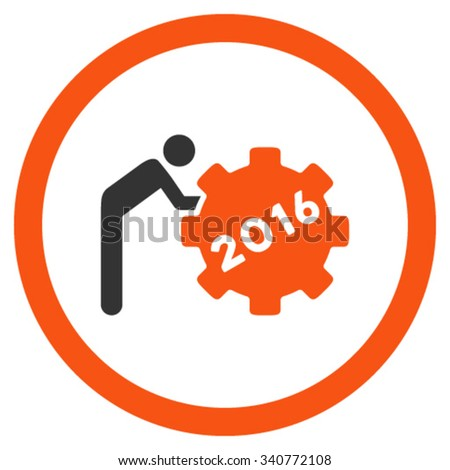 2016 Working Man vector icon. Style is bicolor flat circled symbol, orange and gray colors, rounded angles, white background. - stock vector