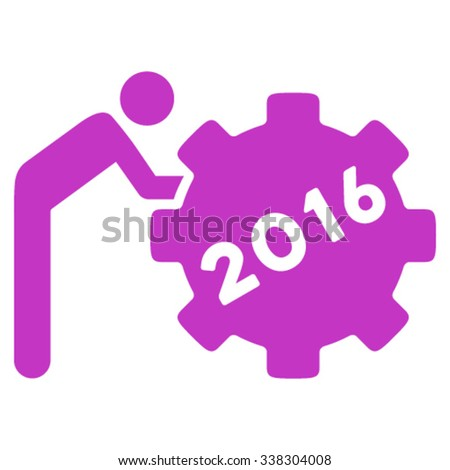 2016 Working Man vector icon. Style is flat symbol, violet color, rounded angles, white background. - stock vector