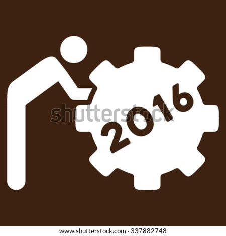 2016 Working Man vector icon. Style is flat symbol, white color, rounded angles, brown background. - stock vector